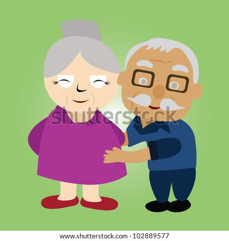 Vector - Couple older.He hug his wife. - stock vector