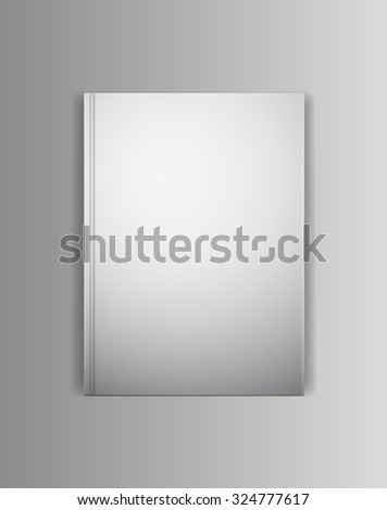 Vector cover book mock up template. Blank empty lying horizontally cover with grey shadows. Ready to place your image. - stock vector