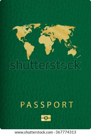 vector cover of green leather biometric passport with world map - stock vector