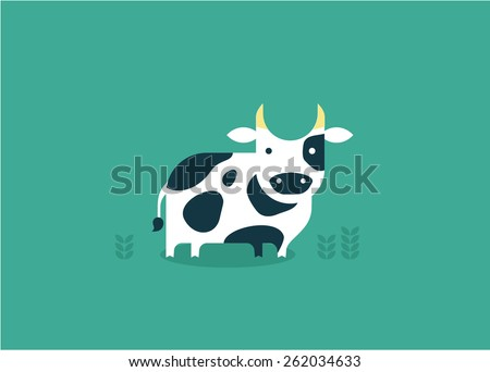 vector cow icon - stock vector