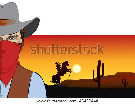 Vector cowboy. BAd guy - stock vector