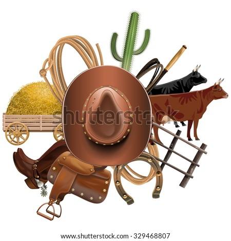 Vector Cowboy Ranch Concept - stock vector