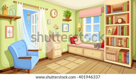 Vector cozy room interior with bookcase, couch and armchair. - stock vector
