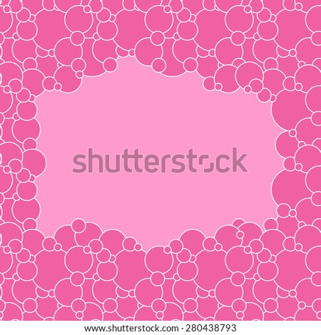 Vector creative abstract background is of circular elements crimson color on pale pink backdrop - stock vector