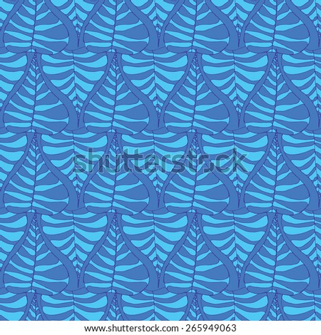 Vector creative abstract hand-drawn seamless pattern of stylized leaves in turquoise and blue tones - stock vector