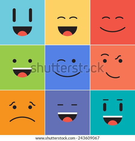 Vector creative cartoon style smiles with different emotions - stock vector