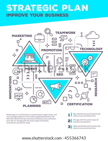Vector creative concept illustration of graph business project with header, text on white background. Planning composition poster template. Flat thin line art style design of business infographics - stock vector