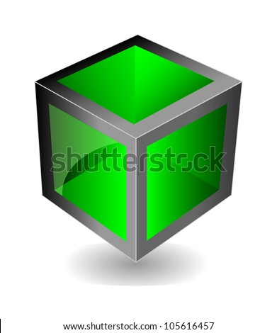 Vector creative green cube with reflection looks like glass. Isolation over white background. - stock vector