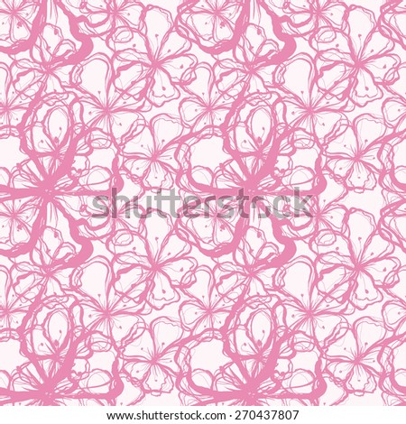 Vector creative hand-drawn abstract seamless pattern of stylized flowers in pale pink and purple tones - stock vector