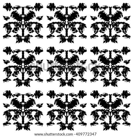 Vector creative hand drawn repeating ornamental pattern. Tribal folk art textured background with rough paint brush repeating ornament. Modern hand drawn black and white abstract periodic pattern - stock vector