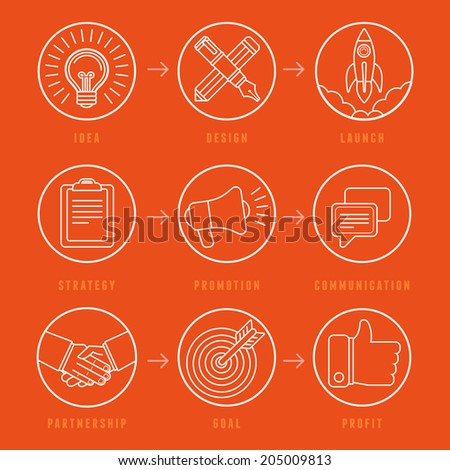 Vector creative idea concept in outline style - innovation process illustration - business plan and development - stock vector