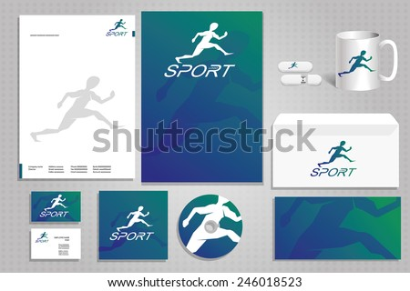 vector creative idea for a company or a fitness room sports club, corporate design template design business cards, letters, posters, mugs envelope and memory card - stock vector