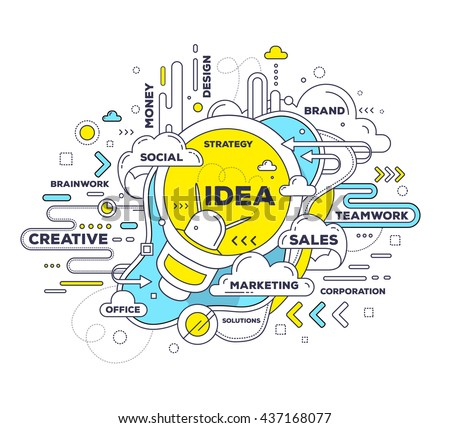 Vector creative illustration of creative idea with light bulb, tag cloud on white background. Idea technology concept. Hand draw thin line art style design with light bulb for create idea, brainstorm - stock vector