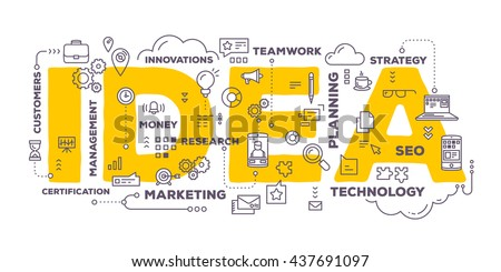 Vector creative illustration of idea word lettering typography with line icons and tag cloud on white background. Creative idea concept. Thin line art style design for business idea theme web banner - stock vector