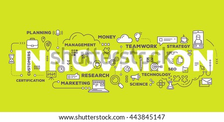 Vector creative illustration of innovation word lettering typography with line icons and tag cloud on green background. Business innovation technology concept. Thin line art style design of innovation - stock vector