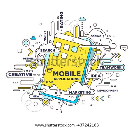 Vector creative illustration of mobile application with phone, tag cloud on white background. Mobile application development concept. Hand draw thin line art style design of phone for app development - stock vector