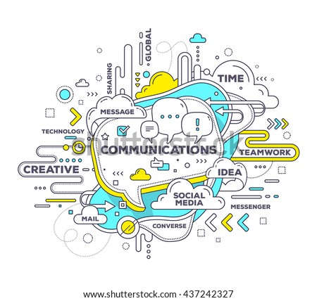 Vector creative illustration of mobile communication with speech bubble, tag cloud on white background. Mobile communication technology concept. Hand draw thin line art style design with speech bubble - stock vector
