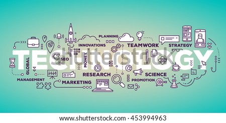 Vector creative illustration of technology word lettering typography with line icons and tag cloud on glow green gradient background. Business innovation technology concept. Thin line art style design - stock vector