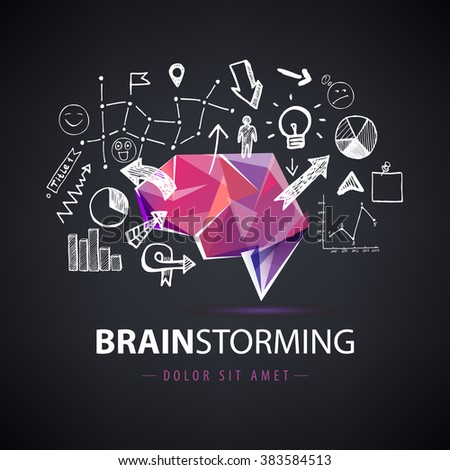 Vector creative logo, brainstorm logo, creating new ideas, teamwork illustration. Origami brain with hand drawn chart, arrows elements. Dark background - stock vector