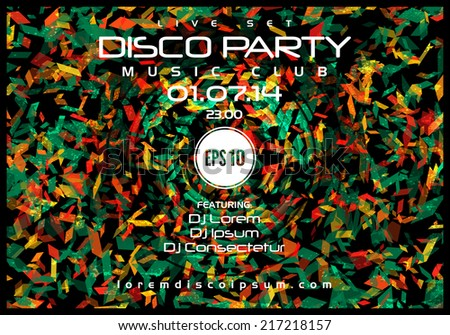 Vector creative retro disco music poster template. Vector design - stock vector