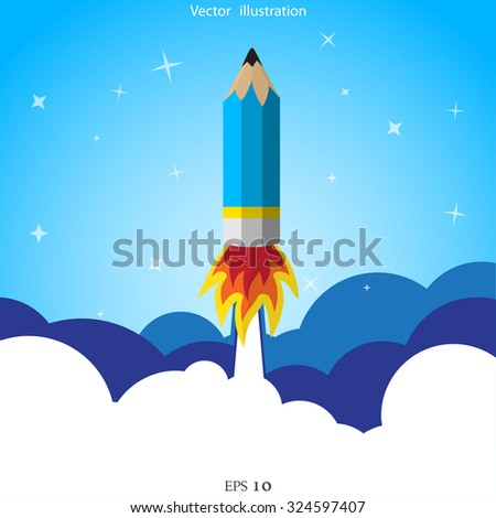 Vector creative start concept flat illustration. Project startup. - stock vector