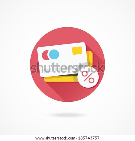 Vector Credit Card and Percent Sign Icon - stock vector