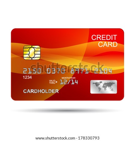 Vector Credit Card design template isolated on a white background - stock vector