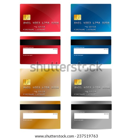 Vector credit cards set in different colors, front and back - stock vector