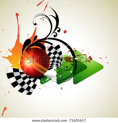 vector cricket ball in grungy background - stock vector