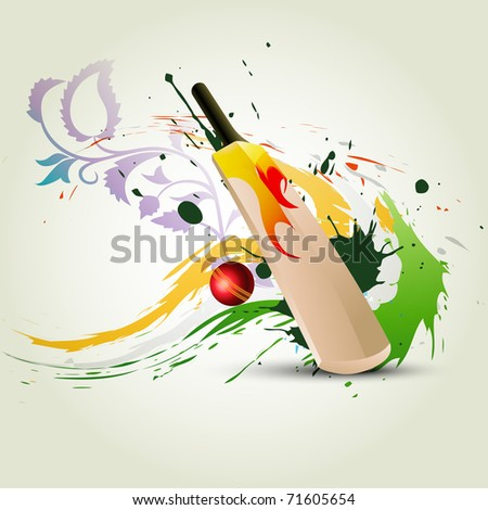 vector cricket bat on abstract background - stock vector