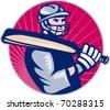 vector cricket player batsman holding bat - stock vector