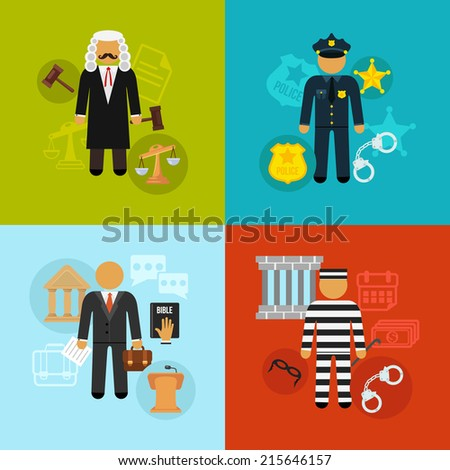 Vector crime and punishment law and order social flat icons set - stock vector