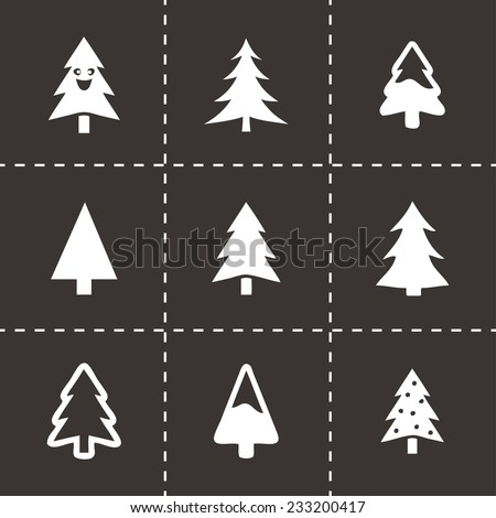 Vector cristmas trees icons set on black background - stock vector