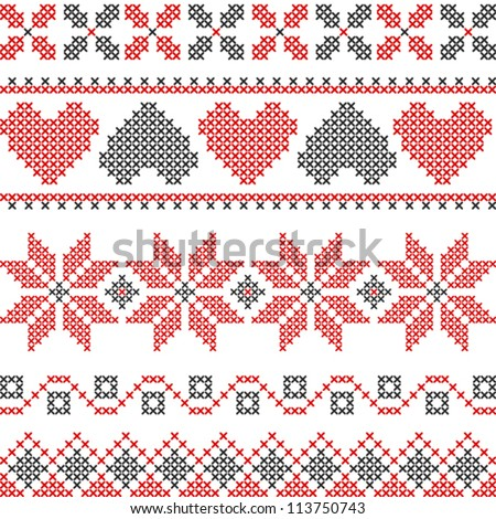 Vector cross stitch embroidery - stock vector