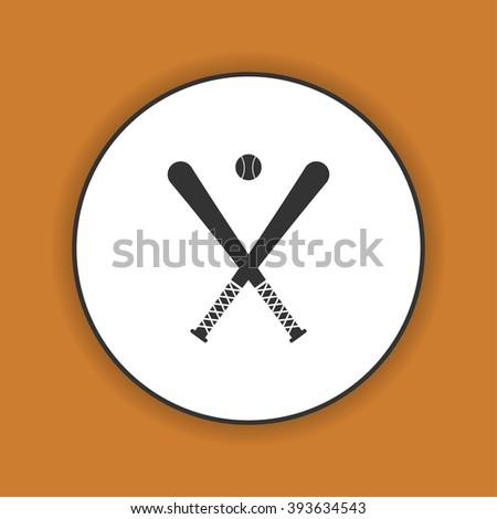 Vector crossed baseball bats and ball set. - stock vector