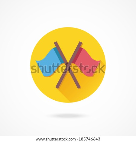 Vector Crossed Flags Icon - stock vector