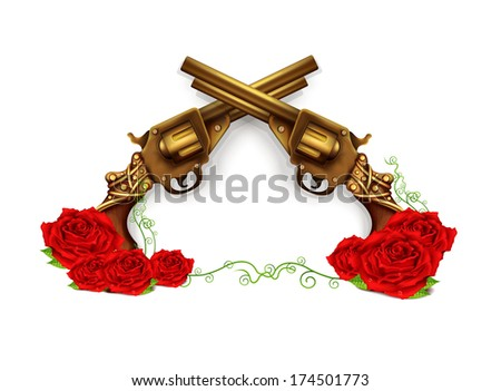 Guns Logo Vector Vector Crossed Guns With Roses