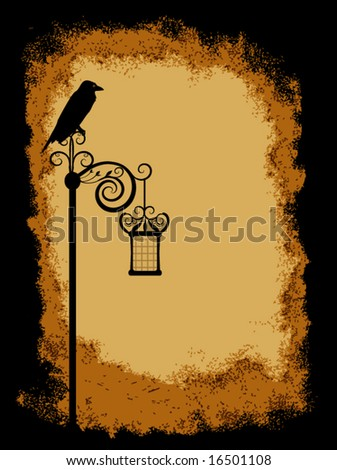 Vector - Crow on top of old lantern over grunge vintage texture - stock vector