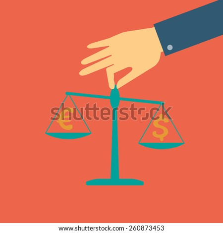 Vector crowdfunding concept in flat style - Human hand holding scales with coins dollar and euro - stock vector