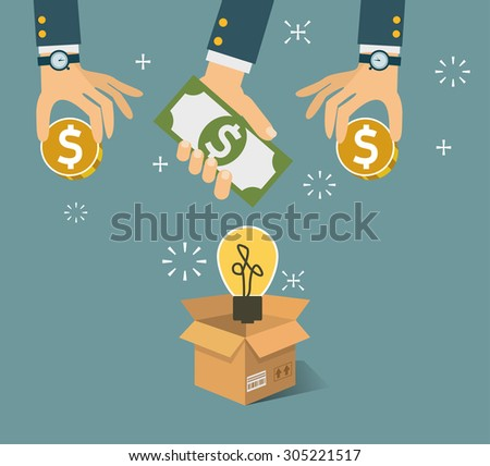 Vector crowdfunding concept in flat style - new business model - funding project by raising monetary contributions from crowd of people - stock vector