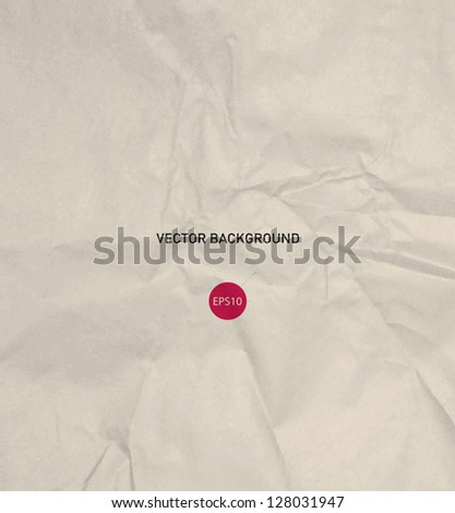 Vector crumpled beige recycled paper background - stock vector