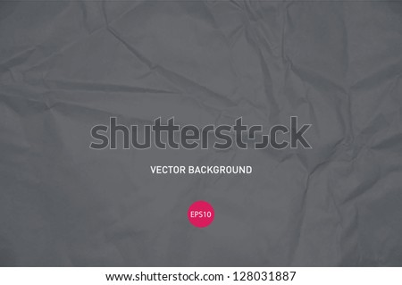 Vector crumpled gray paper background - stock vector