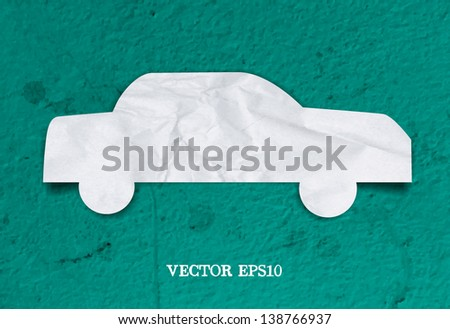 Vector crumpled paper car icon over grungy background - stock vector