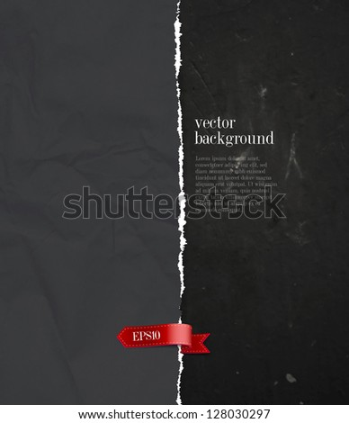 Vector crumpled torn black paper background with ribbon tag over a grungy wall - stock vector