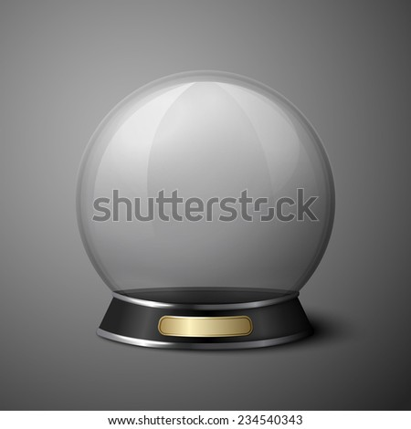 Vector crystal ball for fortune tellers.  Isolated on grey background. - stock vector