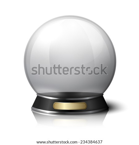 Vector crystal ball for fortune tellers. Isolated on white background with reflection. - stock vector