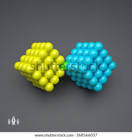 Vector Cube. 3D Concept Illustration for Marketing, Website, Business Presentation. Idea Concept. 3d Spheres Composition. Concept for Science, Technology and Network. Futuristic Technology Style. - stock vector