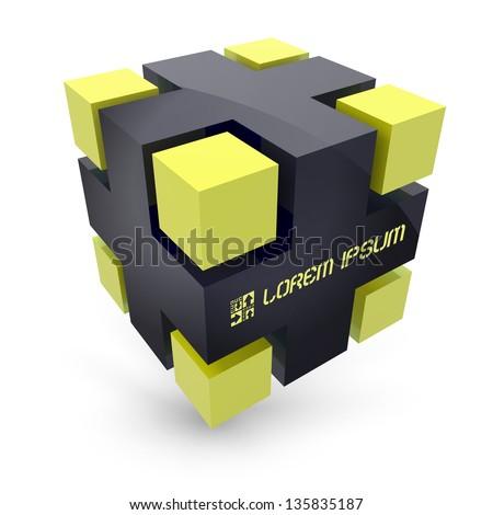 Vector cube. 3D illustration. - stock vector