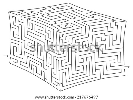 Vector cube maze (labyrinth) - stock vector