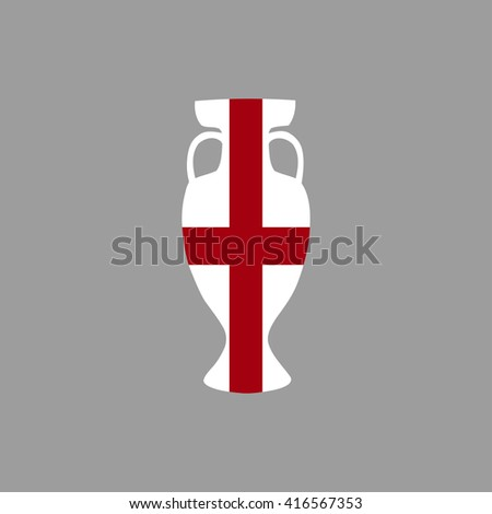 Vector cup isolated on grey background. England national state flag colors.First 1st place in sport competition trophy symbol. Championship winner prize icon sign. Flat style. Graphic object clip art - stock vector